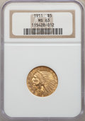 Indian Half Eagles: , 1911 $5 MS63 NGC. NGC Census: (879/497). PCGS Population:(1077/555). MS63. Mintage 915,000. ...