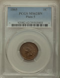 Indian Cents: , 1865 1C Plain 5 MS62 Brown PCGS. PCGS Population: (18/82). NGC Census: (69/222). CDN: $110 Whsle. Bid for problem-free NGC/...