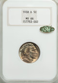 Buffalo Nickels, 1938-D 5C MS66 NGC. Gold CAC. NGC Census: (23386/2617). PCGS Population: (32087/2020). MS66. Mintage 7,020,000. ...
