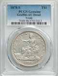 Trade Dollars, 1878-S T$1 -- Graffiti -- PCGS Genuine. AU Details. NGC Census: (39/775). PCGS Population: (107/1016). AU50. Mintage 4,162,...
