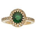 Estate Jewelry:Rings, Green Tourmaline, Diamond, Gold Ring. ...