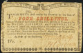 Colonial Notes:New York, New York August 2, 1775 (Water Works) 4s Very Fine.