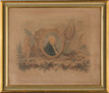 Political:3D & Other Display (pre-1896), George Washington: Rare Color-Tinted Memorial Print.. ...