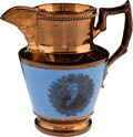 Political:3D & Other Display (1896-present), Andrew Jackson: Exceptional Large-size Copper Luster Pitcher withBlue Background. . ...