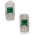 Estate Jewelry:Earrings, Diamond, Emerald, White Gold Earrings . ...