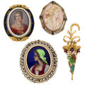 Estate Jewelry:Brooches - Pins, Diamond, Cultured Pearl, Shell Cameo, Seed Pearl, Synthetic Stone, Painted Portrait, Enamel, Gold Brooches . ... (Total: 4 Items)