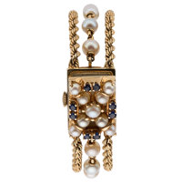 Lady's Cultured Pearl, Sapphire, Gold Covered Dial Watch