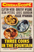 """Movie Posters:Romance, Three Coins in the Fountain (20th Century Fox, 1954). Folded, Fine/Very Fine. One Sheet (27"""" X 41""""). Romance.. ..."""