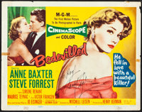 """Bedevilled (MGM, 1955). Fine/Very Fine. Autographed Title Lobby Card (11"""" X 14""""). Crime"""