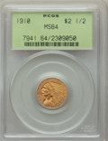 Indian Quarter Eagles: , 1910 $2 1/2 MS64 PCGS. PCGS Population: (491/143). NGC Census: (773/207). CDN: $900 Whsle. Bid for problem-free NGC/PCGS MS...