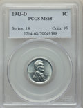 Lincoln Cents: , 1943-D 1C MS68 PCGS. PCGS Population: (150/0). NGC Census: (61/0). Mintage 217,660,000. ...