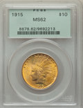Indian Eagles: , 1915 $10 MS62 PCGS. PCGS Population: (1533/1080). NGC Census: (1296/863). CDN: $775 Whsle. Bid for problem-free NGC/PCGS MS...