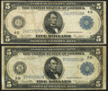Fr. 851a $5 1914 Federal Reserve Note Very Good-Fine; Fr. 859a $5 1914 Federal Reserve Note Fine