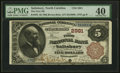 Salisbury, NC - $5 1882 Brown Back Fr. 467 The First NB Ch. # 2981 PMG Extremely Fine 40