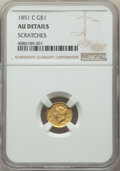 1851-C G$1 -- Scratches -- NGC Details. AU. NGC Census: (12/385). PCGS Population: (62/275). CDN: $1,500 Whsle. Bid for...