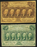Fractional Currency:First Issue, Fr. 1281 25¢ First Issue Very Fine;. Fr. 1312 50¢ First Issue Very Fine.. ... (Total: 2 notes)