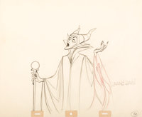 Sleeping Beauty Maleficent Animation Drawing Signed by Marc Davis (Walt Disney, 1959)