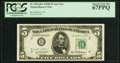 Fr. 1963-B* $5 1950B Federal Reserve Star Note. PCGS Superb Gem New 67PPQ