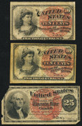 Fractional Currency:Fourth Issue, Fr. 1257 10¢ Fourth Issue Two Examples. Very Good;. Fr. 1302 25¢ Fourth Issue Good.. ... (Total: 3 notes)