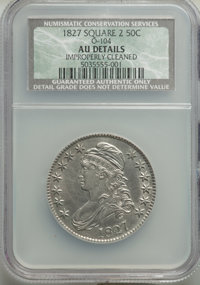 1827 50C Square Base 2, O-104, R.1, -- Improperly Cleaned -- NCS. AU Details. NGC Census: (5/19). PCGS Population: (2/17...