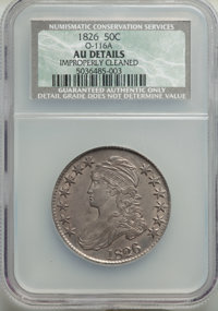 1826 50C O-116a, R.1, -- Improperly Cleaned -- NCS. AU Details. NGC Census: (2/26). PCGS Population: (3/9). AU50. ...(PC...