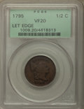 1795 1/2 C Lettered Edge VF20 PCGS. PCGS Population: (8/81). NGC Census: (0/0). VF20. Mintage 139,690
