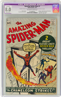 The Amazing Spider-Man #1 (Marvel, 1963) CGC Apparent VF 8.0 Moderate (P) Off-white to white pages