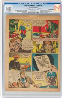 """Captain America Comics #1 Single Page (Timely, 1941) CGC """"No Grade"""" Cream to off-white"""