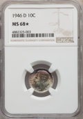 1946-D 10C MS68★ NGC. NGC Census: (1/0 and 2/0*). PCGS Population: (0/0 and 2/0*). Mintage 61,043,500