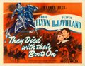 "Movie Posters:Western, They Died with Their Boots On (Warner Brothers, 1941). Fine+ on Linen. Trimmed Half Sheet (21.5"" X 27.5"") Style B.. ..."