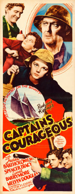 "Captains Courageous (MGM, 1937). Folded, Fine+. Insert (14"" X 36"")"