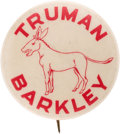 "Political:Pinback Buttons (1896-present), Harry S Truman: Rare 1 1/4"" Name Button with Donkey.. ..."
