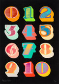 Prints & Multiples:Print, Ben Eine (English, b. 1970). Shutter Font Numbers (Black), 2010. Screenprint in colors on wove paper. 27-3/4 x 19-3/4 in...
