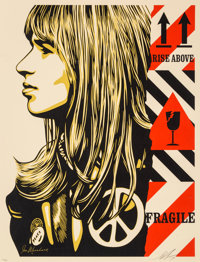 Shepard Fairey (American, b. 1970) Fragile Peace, 2017 Screenprint in colors on speckled cream paper 24 x 18 inches (