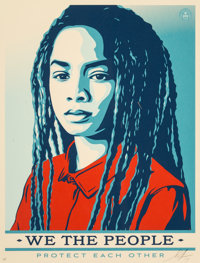 Shepard Fairey (American, b. 1970) Untitled, from We the People, 2017 Screenprint in colors on cream speckled pape