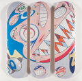 Collectible:Contemporary, Takashi Murakami X ComplexCon. Flying DOB, triptych, 2018. Offset lithographs in colors on skate decks. 32 x 8 inches (8... (Total: 3 Items)