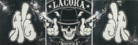 OG Slick (American, 20th century) La Coka Nostra, triptych, c. 2010 Ink jet print with acrylic, sten