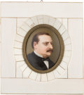Political:3D & Other Display (pre-1896), Grover Cleveland: Miniature on Porcelain....