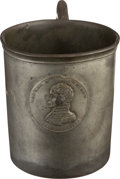 Political:3D & Other Display (pre-1896), William Henry Harrison: Pewter Mug with Embedded Campaign Medal....