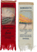 Political:Ribbons & Badges, Benjamin Harrison and Grover Cleveland: Hand-Painted 1892 Satin Ribbons.... (Total: 2 Items)