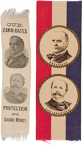 Political:Ribbons & Badges, McKinley & Hobart: Pair of Jugate Satin Ribbons.... (Total: 2 Items)