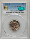 1935-D 5C MS66 PCGS. CAC. PCGS Population: (207/12 and 28/1+). NGC Census: (42/7 and 1/0+). CDN: $650 Whsle. Bid for pro...
