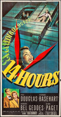 "Movie Posters:Film Noir, 14 Hours (20th Century Fox, 1951). Folded, Fine+. Three Sheet (41"" X 78.75""). Film Noir.. ..."