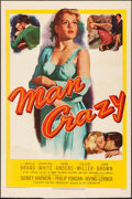 "Movie Posters:Bad Girl, Man Crazy (20th Century Fox, 1953). Very Good/Fine on Board.Trimmed One Sheet (27"" X 40.5""). Bad Girl.. ..."