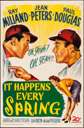 "Movie Posters:Sports, It Happens Every Spring (20th Century Fox, 1949). Fine- on Board. One Sheet (27"" X 41""). Sports.. ..."