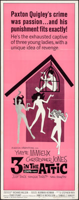 "3 in the Attic (American International, 1968). Folded, Very Fine-. Insert (14"" X 36""). Comedy"