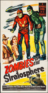 "Zombies of the Stratosphere (Republic, 1952). Folded, Very Fine. Stock Three Sheet (41"" X 80""). Serial"