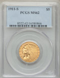 Indian Half Eagles: , 1911-S $5 MS62 PCGS. PCGS Population: (534/294). NGC Census:(403/98). CDN: $1,400 Whsle. Bid for problem-free NGC/PCGS MS6...