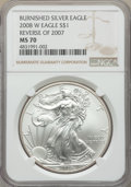 2008-W $1 Silver Eagle, Reverse of 2007, Burnished, 70 NGC. NGC Census: (4881). PCGS Population: (554)
