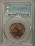 1723 1/2 P Hibernia Halfpenny MS64 Red and Brown PCGS. PCGS Population: (26/11 and 1/1+). NGC Census: (2/2 and 1/0+)